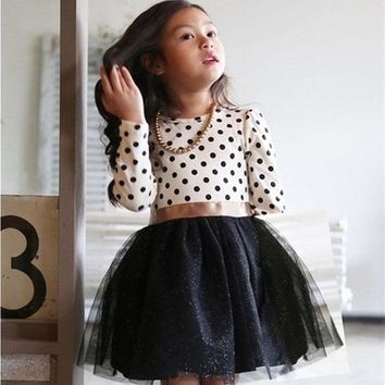 Winter Dress 2016 Long Sleeve New Girls Clothing Polka Dot Dresses For Girls Princess Party Costume Kids Clothes