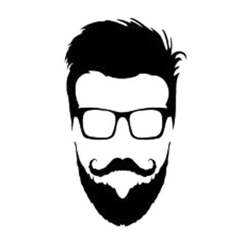 9.3cm*15.9cm Hipster Glasses Beard Head Vinyl Car Sticker Motorcycle Black/Silver S3-5970
