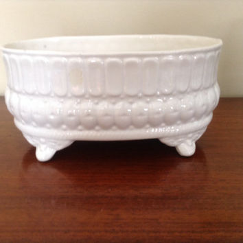 Ironstone ish footed planter. White traditional vintage ironstone style shabby chic cottage style, no markings on the bottom