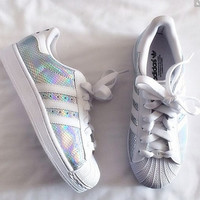 """Adidas"" Fashion Shell-toe Flats Sneakers Sport Shoes Scale white laser"