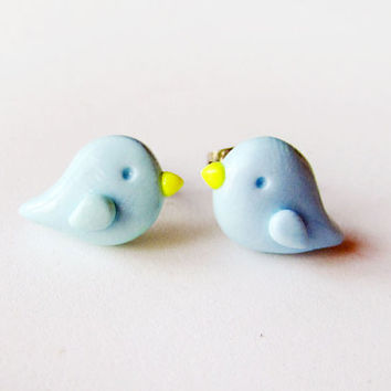 Simple Little Spring Pastel Blue Bird Earrings