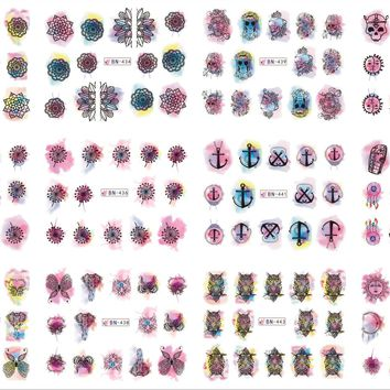12 Sheets/Lot Nail BN433-444 Watercolor Buddhist Mandala Dandelion Nail Art Water Sticker Decal For Nail Water (12 DESIGNS IN 1)