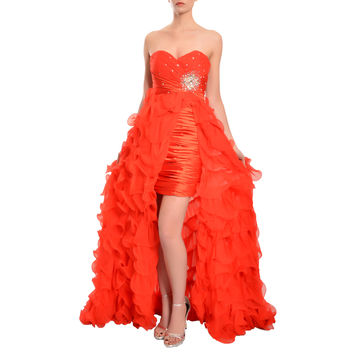 Mac Duggal Women's Red Crystal Embellished High-low Ruffled Dress