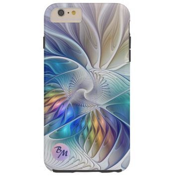 Floral Fantasy, abstract and modern, Monogram Tough iPhone 6 Plus Case