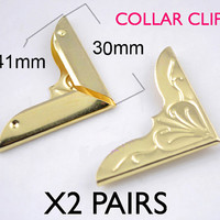 4 Pieces Collar Clip Gold Color Patterned Antiqued Punk Blouse Shirt Metal Wing Tips Pointed