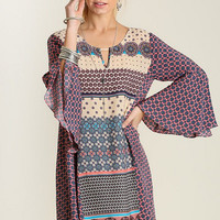 Mixed Pattern Berry Boho Dress