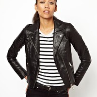 River Island Leather Biker Jacket at asos.com