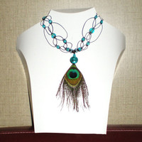 Micro macrame necklace with Peacock feather, Silverl lined aqua glass bead, sparkling aqua beads on lacy black macrame cord.