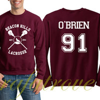 O'brien Obrien Sweatshirt Beacon Hills Teen Wolf 91 Number Unisex Sweatshirts - RT107