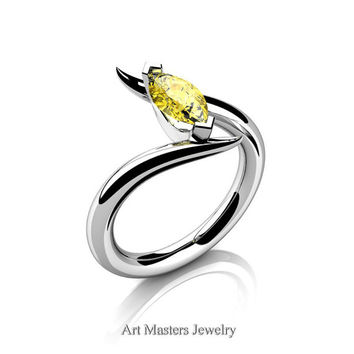 Avant Garde 14K White Gold 1.0 Carat Marquise Yellow Sapphire Solitaire Engagement Ring R418-14KWGYS