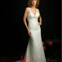 Lace V-Neck Column Sleeveless Wedding Dress with Chapel Train AB8672