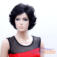 """10"""" Short Curly Layered Synthetic Wigs for Women Basic Cap Black"""