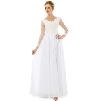 Fashion Prom Dresses Scoop Front Slit Long Sleeve Floor Length Applique Lace Chiffon Prom Dress