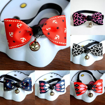 Cute Bow Tie Dog Collars With Bell