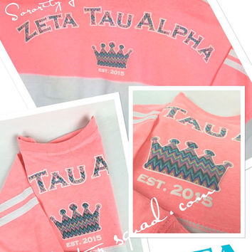 Custom Pom Pom Alumni Sorority Long Sleeve Shirt  / Little Sister / Big Sister / Twin sister / Teal and white shirt  / Coral and white shirt