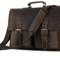 Leather mens briefcase bag laptop bag messenger bag
