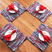 Nautical Placemats Americana Artisan Knitted Upcycled TShirts Red Gray Blue Navy Modern Cottage Chic (set of 4)-- US Shipping Include