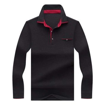 Kunyulang Mens Solid Color Business Casual Polo Shirt CottonMens Long Sleeve Red Clothes