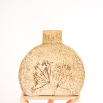 Mid Century Handmade Pressed Wildflower Studio Pottery Art Vase by Sgrafo Modern
