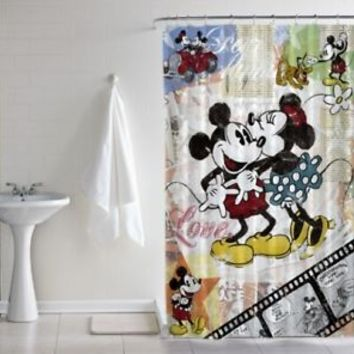 "New Mickey And Minnie Mouse Vintage Print Custom Shower Curtain Size 60"" x 72"""