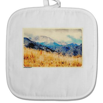 Pikes Peak Mountains Watercolor White Fabric Pot Holder Hot Pad by TooLoud