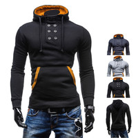 Trendy Mens Fashion Style Pullover Hoodie with Double Breasted Design