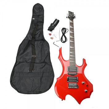 Flame Type Electronic Guitar Red with Bag Pick Cable Strap