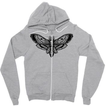butterfly and skull Zipper Hoodie