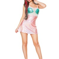 J-Valentine Aqua Scale Mesh Plur Mermaid Dress