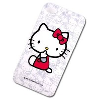Adorable Hello Kitty Polycarbonate Snap-on Hard Case / Hard-shell / Protective Back Cover for Apple iPhone 4S 4 / Free Back Protective Film / Fast Shipping Guaranteed / 4BC518 White