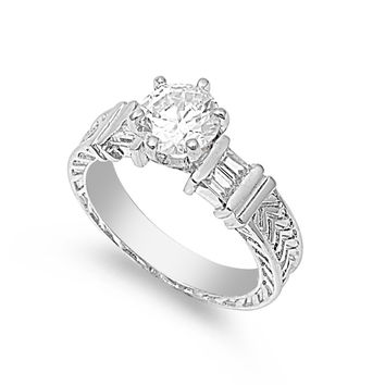 925 Sterling Silver CZ Round Center Stone Wedding Ring 9MM