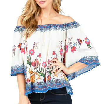 Mixed Floral Off-Shoulder Blouse