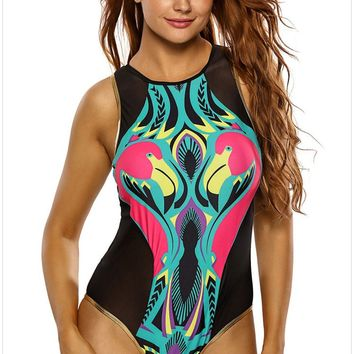 New Stylish Plus Size One Piece Swimsuit Cartoon Flamingo Print Zipped Mesh Monokini Soft Bathing Suit Swimwear 410086 Summer