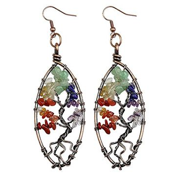 Dangle Earrings, Bayueba Tree of Life Amethyst Lapis Lazuli Rose Quartz Vintage Retro Chakra Jewelry for Women