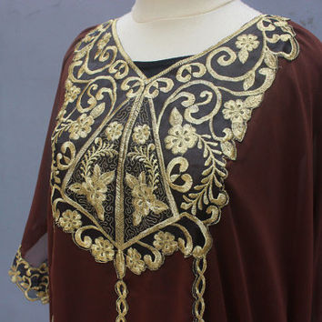 Exclusive Dark Brown Caftan Dress With Fancy Gold Embroidery Great for Wedding Bridesmaid Party Summer Kaftan Maxi Dress - ONLY 1 Available