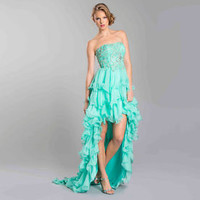 Strapless Sparkle Design High Low Ruffle Prom Dress Plus Sizes Train Flirty Gown