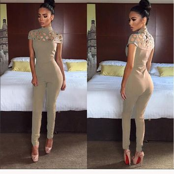 Apricot Plain Cut Out Zipper Elastic Waist Long Jumpsuit
