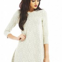 Cream Swing Print Dress with 3/4 Sleeves