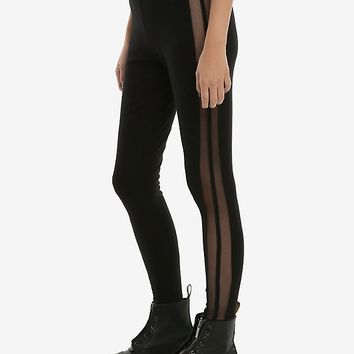 Blackheart Fishnet Side Stripe Leggings