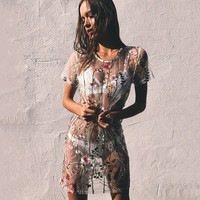 Hot Sale Summer Women's Fashion Round-neck See Through Embroidery Floral One Piece Dress [10597784775]