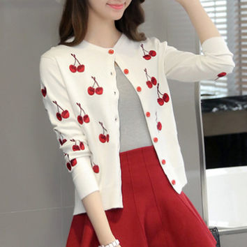 Short Sweater Cardigan with Cherry
