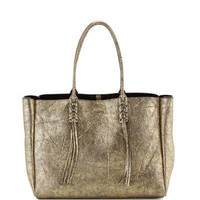 Metallic Crinkled Leather Tote Bag, Gold