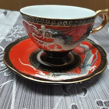 Castle Dragonware Vintage Teacup and Saucer, Black Red Dragon Tea Cup and Saucer, Googly Eyes Moriage Japanese China