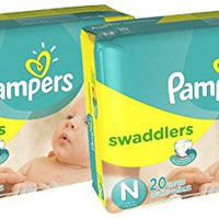 Pampers Swaddlers Diapers Size N 20 Count Pack of 2 (Total of 40 Pampers)