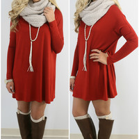 Time Well Wasted Rust Long Sleeve Dress
