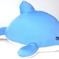 "Snow Foam Micro Beads 12""-16"" Full Size Blue Dolphin Cushion Pillow-Brand New"