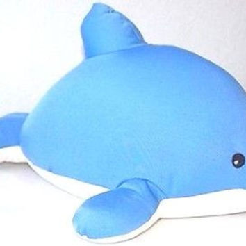 """Snow Foam Micro Beads 12""""-16"""" Full Size Blue Dolphin Cushion Pillow-Brand New"""