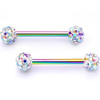 "9/16"" Aurora Gem Cluster Rainbow Anodized Barbell Nipple Ring Set"