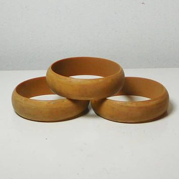 Brown Bracelets, Bangle Cuffs, Set of 3, Gypsy Jewelry, Boho Bracelets, Wood Look, Lightweight Plastic, Bohemian Jewelry, Never Worn Vintage