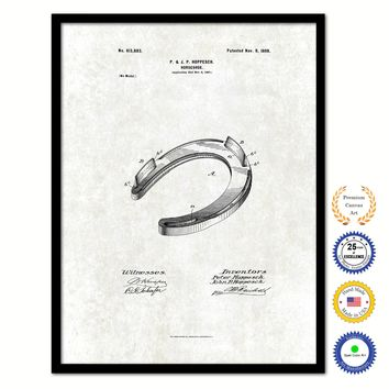 1898 Cowboy Horseshoe Vintage Patent Artwork Black Framed Canvas Print Home Office Decor Great for Cowboy Cowgirl Horseback Rider